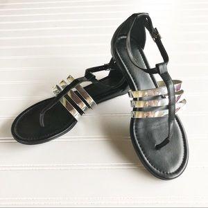 Calvin Klein Sandals 7.5 Black Gladiator Flats
